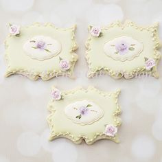 Hand Painted Rose Plaque Cookies by Bobbie - http://cakesdecor.com/cakes/275891-hand-painted-rose-plaque-cookies