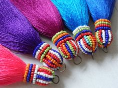 Beaded silk tassel, luxury ethnic tassel with pom poms, bag tassel, accessories, large Thai silk tassel with glass beads and pom poms - Thai beaded tassel one large tassel with pompoms by TintinBeads The Effective Pictures We Offer You - Pom Pom Crafts, Yarn Crafts, Felt Crafts, Beaded Earrings, Beaded Jewelry, Handmade Jewelry, Beaded Embroidery, Hand Embroidery, Diy Crafts For Girls
