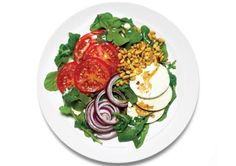 Summer Tomato Salad http://www.prevention.com/weight-loss/flat-belly-diet/5-minute-flat-belly-meals/hummus-olive-and-tomato Layer 1 c arugula with 2 sliced tomatoes, 2 oz thinly sliced part-skim mozzarella, and 5 thin slices red onion. Dress with 2 Tbsp pine nuts; 1 tsp olive oil; and balsamic vinegar, salt, and pepper to taste