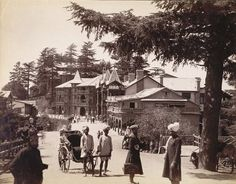 From the Untold Lives blog post 'Bear's grease, bonnets, bellows, biscuits and Bibles'. Image: Simla - Post Office and Ridge 1880s