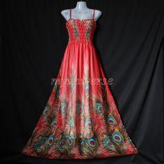 Maxi Dress - Peacock Women Red Bridesmaid Prom Long Sundress Evening Wedding Dress Chiffon