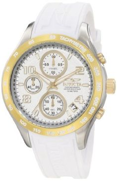 Invicta Women's 12096 Specialty Chronograph White Rubber Watch Invicta. $119.89. Water-resistant to 100 M (330 feet). Japanese quartz movement. Chronograph functions with 30 second, 60 minute and 1/10th of a second subdials; day and date function. Silver dial with gold tone hands, hour markers and arabic numerals; luminous; 18k gold ion-plated stainless steel bezel, crown and pushers. Flame-fusion crystal; stainless steel case with white polyurethane strap. Save 83% Off!