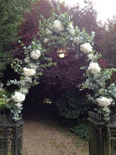 Simple Flower Archway at Country Church with natural white hydrangeas #Wedding #Flowers www.passionforflowers.net