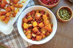 MAPLE ROASTED BUTTERNUT SQUASH WITH CANDIED MACADAMIAS  #Recipe by @mari_jasmn here: http://marijasmine.com/food/maple-roasted-butternut-squash-with-candied-macadamias/  #food #Foodie #foodporn #pescetarian #vegan #vegetarian