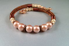 Copper Viking Knit Bangle Bracelet with Pearls
