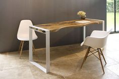 Contemporary wooden writing desk ICE by SDA Decoration. Made with teak root wood and crackled resin on painted iron legs.