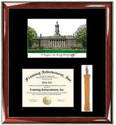 Penn State University PSU Lithograph Diploma Frame with Tassel Box  Premium Wood Glossy Prestige Mahogany with Gold Accents  Single Black Mat  University Diploma Frame with Graduation Tassle Box *** For more information, visit image link.