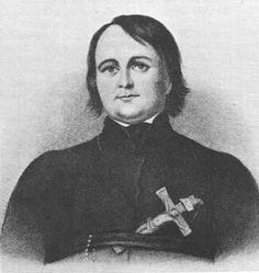 Father Pierre-Jean De Smet about 3 years before he travelled with the Bidwell-Bartleson Party in 1841. This was the first wagon train  to California (although the emigrants would abandon their wagons before reaching their destination). For about half the journey, the emigrants joined forces with a Jesuit missionary party, which included Fathers De Smet, Mengarini, and Point