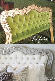 Painted headboard tutorial - How to paint fabric with chalk paint