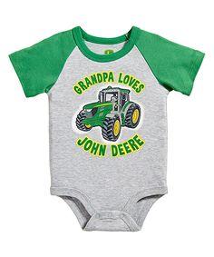 Heather Gray & Green 'Grandpa Loves John Deere' Bodysuit - Infant