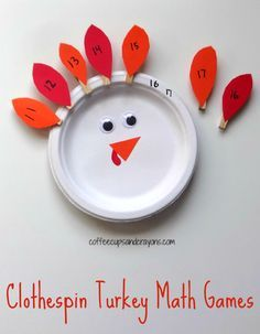 Clothespin Turkey Math Games for Kids! Would make a great fine motor and math busy bag! Thanksgiving Activities For Kids, Kids Learning Activities, Math For Kids, Fun Math, Math Games, Preschool Activities, Kids Fun, Preschool Classroom, Kindergarten Math