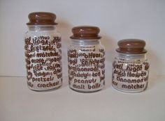Clear Glass Typography Canisters  Storage Jars with Brown Lettering and Seal Tight Glass Lids for Storage of Coffee, Tea, Flour, Snacks, etc