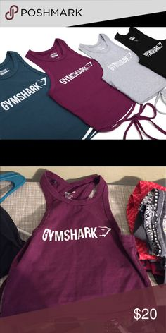 Gym Shark Ribbon Crop Brand new, only tried on once! lululemon athletica Tops Muscle Tees
