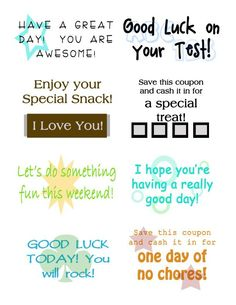 Free Printable Lunch Notes-these would be a fun surprise for the hubby.  :)