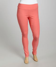 Loving this Coral Leggings - Plus on #zulily! #zulilyfinds