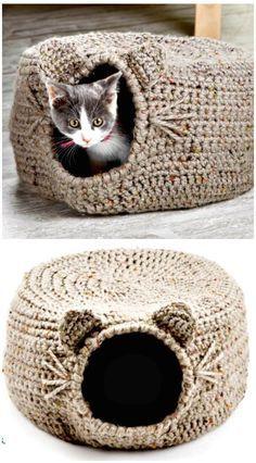 Diy Crochet Cat Bed, Cat Cave Crochet Pattern, Crochet Craft Fair, Chat Crochet, Crochet Cat Toys, Baby Girl Crochet, Crochet Animals, Crochet Projects, Crochet Designs
