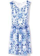 Blue Sleeveless Porcelain Print Chiffon Dress Meu sonho de consumo para o próximo verão !!!!