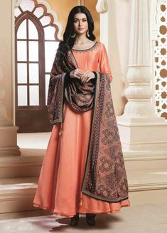 3526007baa85e Orange silky silk handworked neck partywear anarkali suit with printed  dupatta - Top Colour Orange Bottom Colour Orange Dupatta Colour Multi colour  Top ...