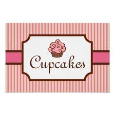 Bakery art | Vintage Style Cupcake Bakery Art Print from Zazzle.com