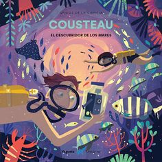 """So excited to share a sneak peak of """"Cousteau"""", a picture book biography of French explorer and """"discoverer of the seas"""" Jacques Cousteau,… Picture Illustration, Cartoon Illustration, Ocean Illustration, Character Illustration, Picture Books Illustration, Book Cover Illustration, Graphic Design Illustration, Picture Book, Book Art"""