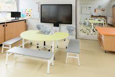 Montessori Classroom, Classroom Design, Office Desk, Corner Desk, Furniture, Home Decor, Modern, Corner Table, Desk Office