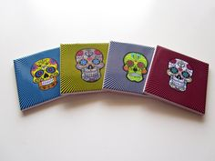 Set of four Sugar Skull ceramic coasters. A perfect gift idea for Day of the Dead. Handmade in Italy. Now available on Etsy.