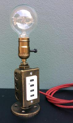 Industrial Desk Lamp USB Charging Station Tesla Lamp