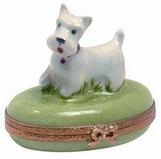 Limoges.com - Online Shopping for Genuine Limoges Porcelain Boxes Imported From France - Westie Dog Genuine Limoges Box