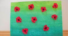 Gestaltung eines Mohnblumenfeldes mit Schwammtechnik und Seidenpapier im Kunstunterricht der Grundschule