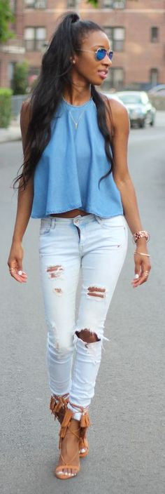 Style Nina Denim Halter Top Washed Ripped Jeans Camel Fringed Suede Sandals