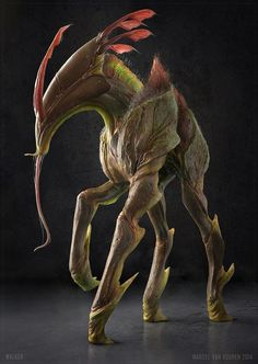 make the aliens beautiful Forest Creatures, Alien Creatures, Magical Creatures, Alien Concept Art, Creature Concept Art, Fantasy Monster, Monster Art, Creature Feature, Creature Design