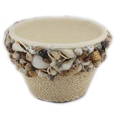 Glue Gun Crafts, Sea Crafts, Rope Crafts, Clay Pot Crafts, Diy Home Crafts, Arts And Crafts, Seashell Art, Seashell Crafts, Seashell Projects