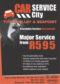 Get a major service from as little as R595 Call 021 917 1931 or 021 917 1932 to book your service