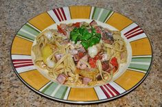 Shawna's Food and Recipe Blog: Fettuccine with Tea Spice Smoked Cured Hawaiian Moonfish, Heirloom Tomatoes, Chile Caribe and Shaoxing Olio d...