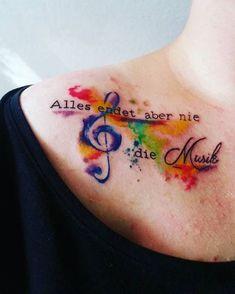Alles endet, aber nie die Musik. ❤ #casper #allesendetaberniediemusik #tattoo #ink #inked #love #aquarelltattoo #notenschlüssel