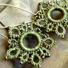 Olive Moss five star earrings tatted lace in hand by Krystledawne