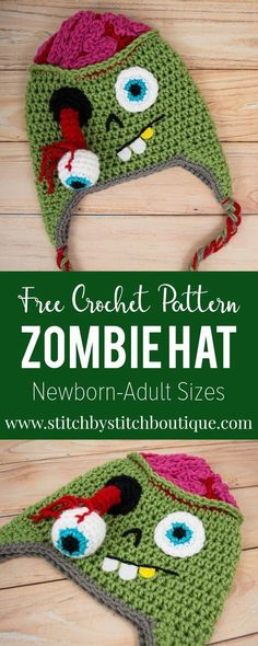 Crochet Patterns Hat Join the Zombie outbreak for Halloween with this new FREE crochet hat pattern Crochet Crafts, Yarn Crafts, Yarn Projects, Crochet Projects, Sewing Projects, Crochet Beanie, Knit Crochet, Crocheted Hats, Crochet Socks