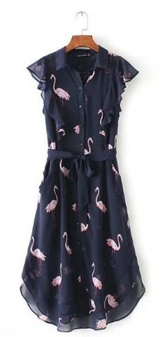 Women's Flamingo Print Chiffon Summer Dress - Just Pink About It - Everybody loves PINK flamingos. Find PINK flamingo products including flamingo print apparel for women, flamingo print home decor, phone accessories, and more. Beautiful Summer Dresses, Summer Dresses For Women, Flamingo Print, Pink Flamingos, Flamingo Decor, Flamingo Outfit, Print Chiffon, Preppy Style, Everyday Fashion
