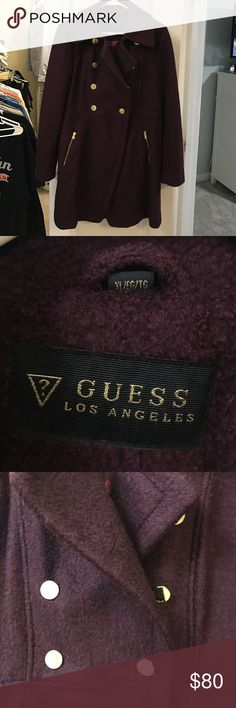 Guess Maroon peacoat/wool military jacket SZ XL Like new, worn once. Guess military style peacoat. Spare button still hanging in baggie inside coat. Maroon with gold buttons and zippers. Guess Jackets & Coats Pea Coats