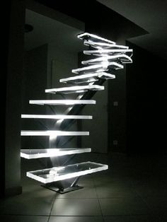 LED lighted Acrylic Stairs. http://hative.com/creative-led-lights-decorating-ideas/