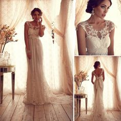 High Fashion 2014 Scoop Short Sleeves Anna Campbell Lace Wedding Dresses Factory vestidos longos summer Bridal Gowns for Women