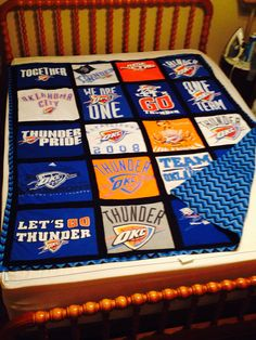 T Shirt OKC Thunder Quilt With Chevron Back. Need This For My Bedroom!