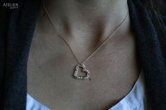 Heart Wrapped with Pearls Necklace Perfect for Valentines Day! by ATELIERGabyMarcos, $65.00