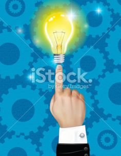 Business Hand Pointing To A Light Bulb Royalty Free Stock Vector Art Illustration