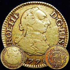 """Historical """"1776"""" PURE 22K SPANISH GOLD 1/2 ESCUDOS DOUBLOON sku #RJ1"""