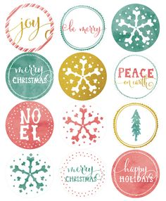 Free Gorgeous Watercolor Printable Round Xmas Holiday Labels
