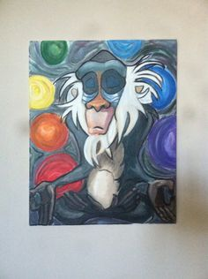 """Zen Rafiki"" original acrylic on canvas 16x24 by Artist Mariel Fernandez FOR…"