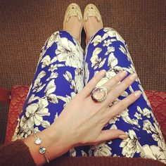 Giving the world blue and brown. . And bling. *** Swarovski ring. H pants. Asos flats. Fashion. Style. Attitude.
