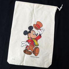 Antique RARE Walt Disney Productions Mickey Mouse Drawstring Cinch Sack Tote Bag