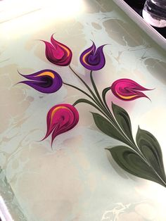 Monoprint Artists, Beautiful Artwork, Beautiful Flowers, Black Butterfly Tattoo, Ebru Art, Water Marbling, Tattoo Outline, Embroidery Motifs, Turkish Art